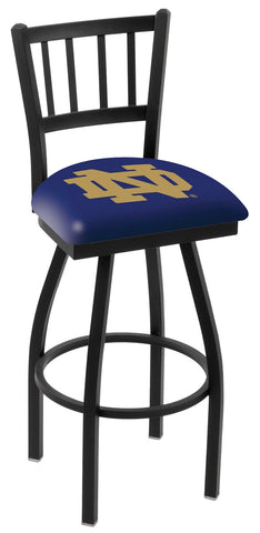 "ND Fighting Irish L018 - 30"" Black Wrinkle Notre Dame (ND) Swivel Bar Stool with Jailhouse Style Back"