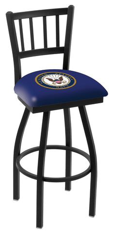 "L018 - 30"" Black Wrinkle U.S. Navy Swivel Bar Stool with Jailhouse Style Back by Holland Bar Stool Co."