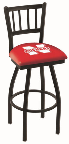 "Nebraska Cornhuskers L018 - 30"" Black Wrinkle Nebraska Swivel Bar Stool with Jailhouse Style Back"