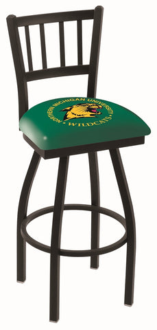 "NMU Wildcats L018 - 30"" Black Wrinkle Northern Michigan Swivel Bar Stool with Jailhouse Style Back"