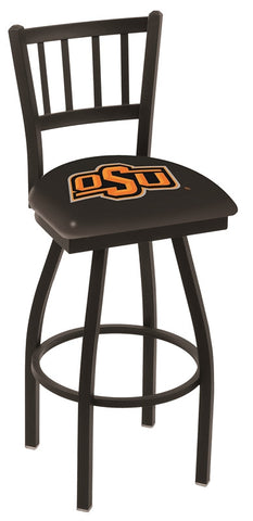 "OSU Cowboys L018 - 30"" Black Wrinkle Oklahoma State Swivel Bar Stool with Jailhouse Style Back"