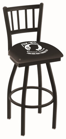 "L018 - 30"" Black Wrinkle POW/MIA Swivel Bar Stool with Jailhouse Style Back by Holland Bar Stool Co."