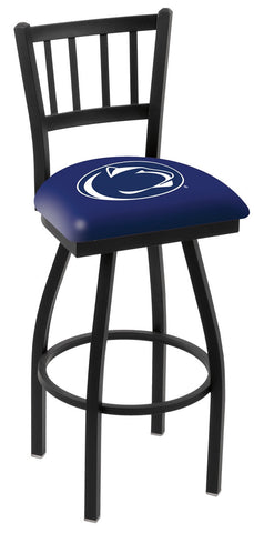 "PSU Nittany Lions L018 - 30"" Black Wrinkle Penn State Swivel Bar Stool with Jailhouse Style Back"