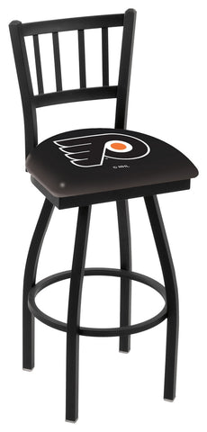 "L018 - 30"" Black Wrinkle Philadelphia Flyers Swivel Bar Stool with Jailhouse Style Back by Holland Bar Stool Co."
