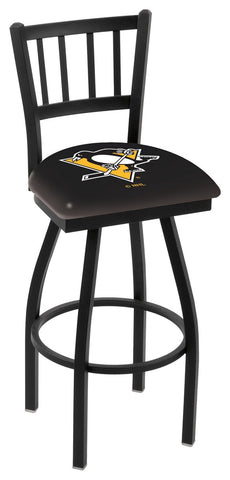 "L018 - 30"" Black Wrinkle Pittsburgh Penguins Swivel Bar Stool with Jailhouse Style Back by Holland Bar Stool Co."