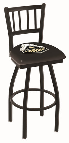 "Purdue  Boilermakers L018 - 30"" Black Wrinkle Purdue Swivel Bar Stool with Jailhouse Style Back"