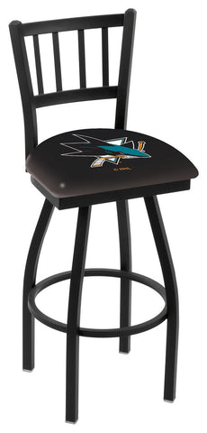 "L018 - 30"" Black Wrinkle San Jose Sharks Swivel Bar Stool with Jailhouse Style Back by Holland Bar Stool Co."