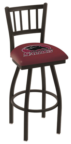 "SIU Salukis L018 - 30"" Black Wrinkle Southern Illinois Swivel Bar Stool with Jailhouse Style Back"