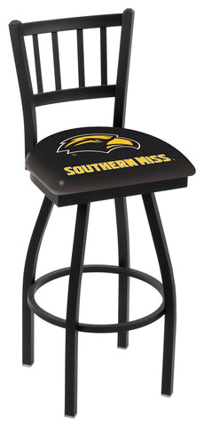 "Southern Miss Golden Eagles L018 - 30"" Black Wrinkle Southern Miss Swivel Bar Stool with Jailhouse Style Back"
