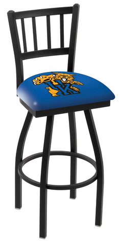 "UK Wildcats L018 - 30"" Black Wrinkle Kentucky ""Wildcat"" Swivel Bar Stool with Jailhouse Style Back"