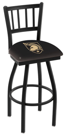 "Army Black Knights L018 - 30"" Black Wrinkle US Military Academy (ARMY) Swivel Bar Stool with Jailhouse Style Back"