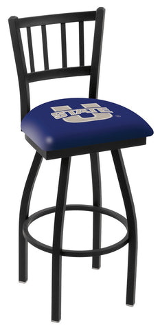 "USU Aggies L018 - 30"" Black Wrinkle Utah State Swivel Bar Stool with Jailhouse Style Back"