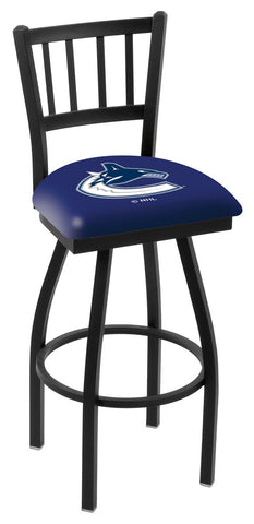 "L018 - 30"" Black Wrinkle Vancouver Canucks Swivel Bar Stool with Jailhouse Style Back by Holland Bar Stool Co."