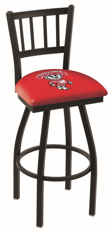 "UW Badgers L018 - 30"" Black Wrinkle Wisconsin ""Badger"" Swivel Bar Stool with Jailhouse Style Back"