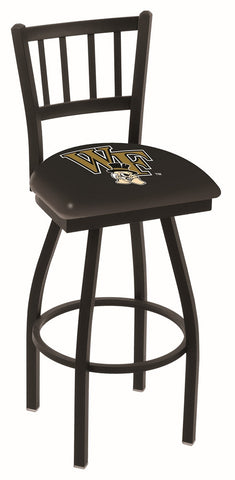 "Wake Forest Demon Deacons L018 - 30"" Black Wrinkle Wake Forest Swivel Bar Stool with Jailhouse Style Back"