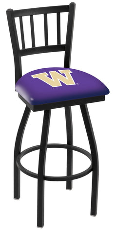 "UW Huskies L018 - 30"" Black Wrinkle Washington Swivel Bar Stool with Jailhouse Style Back"