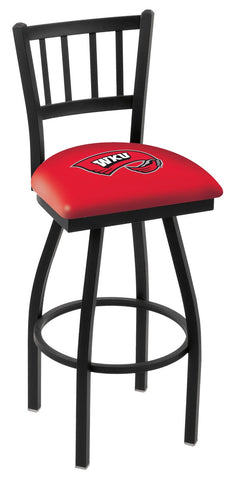"WKU Hilltoppers L018 - 30"" Black Wrinkle Western Kentucky Swivel Bar Stool with Jailhouse Style Back"