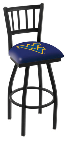 "WVU Mountaineers L018 - 30"" Black Wrinkle West Virginia Swivel Bar Stool with Jailhouse Style Back"