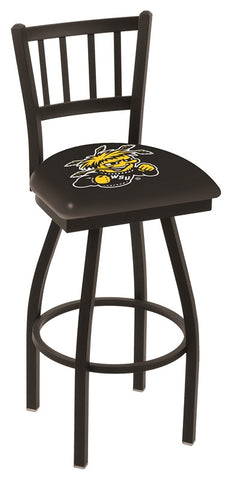 "Wichita State  Shockers L018 - 30"" Black Wrinkle Wichita State Swivel Bar Stool with Jailhouse Style Back"