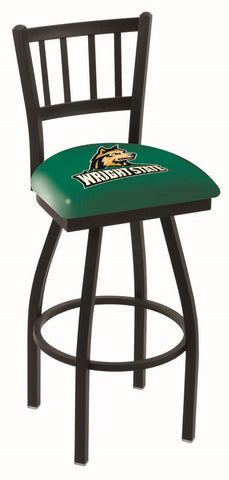 "Wright State  Raiders L018 - 30"" Black Wrinkle Wright State Swivel Bar Stool with Jailhouse Style Back"