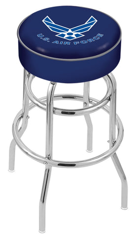 "30"" L7C1 - 4"" U.S. Air Force Cushion Seat with Double-Ring Chrome Base Swivel Bar Stool by Holland Bar Stool Company"