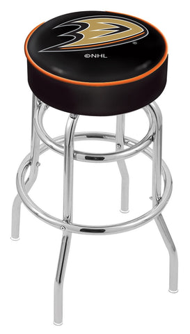 "30"" L7C1 - 4"" Anaheim Ducks Cushion Seat with Double-Ring Chrome Base Swivel Bar Stool by Holland Bar Stool Company"