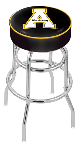 "ASU Mountaineers 30"" L7C1 - 4"" Appalachian State Cushion Seat with Double-Ring Chrome Base Swivel Bar Stool by Holland Bar Stool Company"
