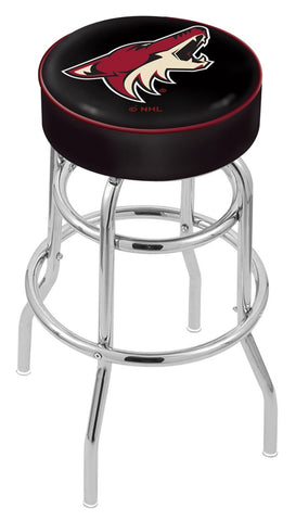 "30"" L7C1 - 4"" Arizona Coyotes Cushion Seat with Double-Ring Chrome Base Swivel Bar Stool by Holland Bar Stool Company"