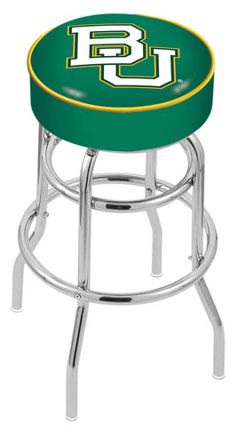 "Baylor  Bears 30"" L7C1 - 4"" Baylor Cushion Seat with Double-Ring Chrome Base Swivel Bar Stool by Holland Bar Stool Company"