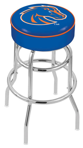 "BSU Broncos 30"" L7C1 - 4"" Boise State Cushion Seat with Double-Ring Chrome Base Swivel Bar Stool by Holland Bar Stool Company"