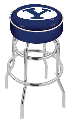 "BYU Cougars 30"" L7C1 - 4"" Brigham Young Cushion Seat with Double-Ring Chrome Base Swivel Bar Stool by Holland Bar Stool Company"