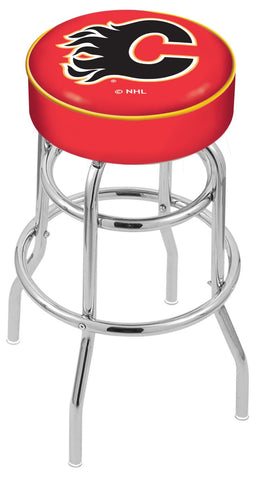 "30"" L7C1 - 4"" Calgary Flames Cushion Seat with Double-Ring Chrome Base Swivel Bar Stool by Holland Bar Stool Company"