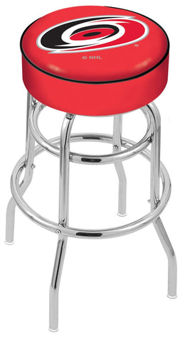 "30"" L7C1 - 4"" Carolina Hurricanes Cushion Seat with Double-Ring Chrome Base Swivel Bar Stool by Holland Bar Stool Company"
