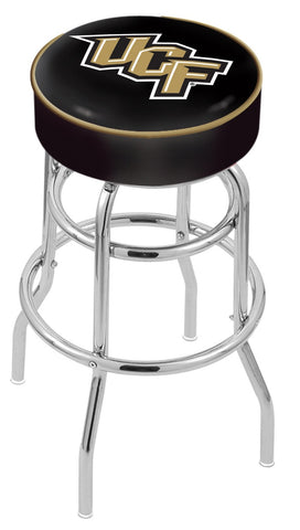 "UCF Knights 30"" L7C1 - 4"" Central Florida Cushion Seat with Double-Ring Chrome Base Swivel Bar Stool by Holland Bar Stool Company"