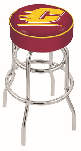 "CMU Chippewas 30"" L7C1 - 4"" Central Michigan Cushion Seat with Double-Ring Chrome Base Swivel Bar Stool by Holland Bar Stool Company"