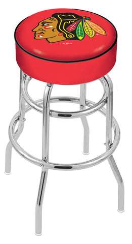 "30"" L7C1 - 4"" Chicago Blackhawks Cushion Seat with Double-Ring Chrome Base Swivel Bar Stool by Holland Bar Stool Company"