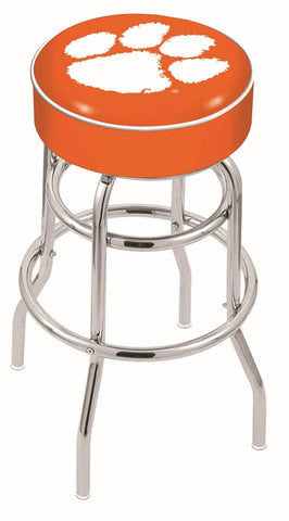 "Clemson  Tigers 30"" L7C1 - 4"" Clemson Cushion Seat with Double-Ring Chrome Base Swivel Bar Stool by Holland Bar Stool Company"