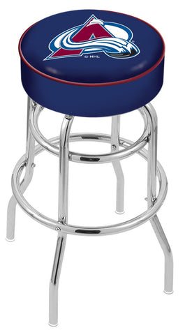 "30"" L7C1 - 4"" Colorado Avalanche Cushion Seat with Double-Ring Chrome Base Swivel Bar Stool by Holland Bar Stool Company"