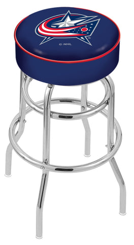 "30"" L7C1 - 4"" Columbus Blue Jackets Cushion Seat with Double-Ring Chrome Base Swivel Bar Stool by Holland Bar Stool Company"