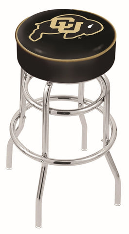 "Colorado Buffaloes 30"" L7C1 - 4"" Colorado Cushion Seat with Double-Ring Chrome Base Swivel Bar Stool by Holland Bar Stool Company"