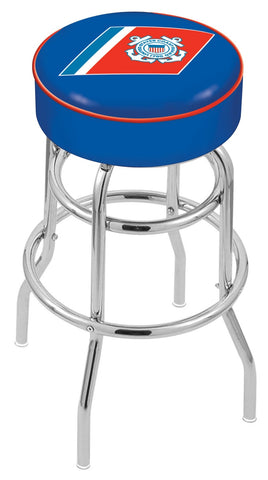 "30"" L7C1 - 4"" U.S. Coast Guard Cushion Seat with Double-Ring Chrome Base Swivel Bar Stool by Holland Bar Stool Company"