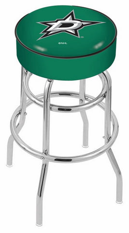 "30"" L7C1 - 4"" Dallas Stars Cushion Seat with Double-Ring Chrome Base Swivel Bar Stool by Holland Bar Stool Company"