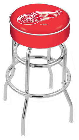 "30"" L7C1 - 4"" Detroit Red Wings Cushion Seat with Double-Ring Chrome Base Swivel Bar Stool by Holland Bar Stool Company"