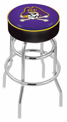 "ECU Pirates 30"" L7C1 - 4"" East Carolina Cushion Seat with Double-Ring Chrome Base Swivel Bar Stool by Holland Bar Stool Company"