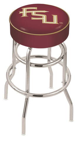 "FSU Seminoles 30"" L7C1 - 4"" Florida State (Script) Cushion Seat with Double-Ring Chrome Base Swivel Bar Stool by Holland Bar Stool Company"