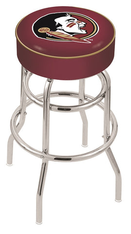 "FSU Seminoles 30"" L7C1 - 4"" Florida State (Head) Cushion Seat with Double-Ring Chrome Base Swivel Bar Stool by Holland Bar Stool Company"