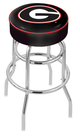 "UGA Bulldogs 30"" L7C1 - 4"" Georgia ""G"" Cushion Seat with Double-Ring Chrome Base Swivel Bar Stool by Holland Bar Stool Company"
