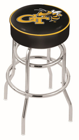 "Georgia Tech Yellow Jackets 30"" L7C1 - 4"" Georgia Tech Cushion Seat with Double-Ring Chrome Base Swivel Bar Stool by Holland Bar Stool Company"