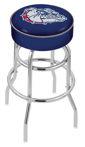 "Gonzaga Bulldogs 30"" L7C1 - 4"" Gonzaga Cushion Seat with Double-Ring Chrome Base Swivel Bar Stool by Holland Bar Stool Company"