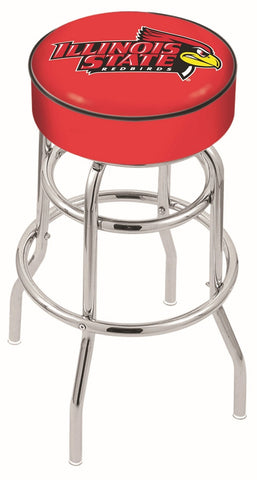 "ISU Redbirds 30"" L7C1 - 4"" Illinois State Cushion Seat with Double-Ring Chrome Base Swivel Bar Stool by Holland Bar Stool Company"